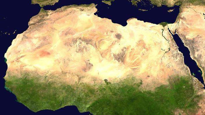 Satellite images of the Sahara desert