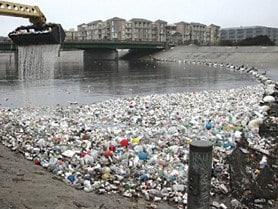 plastic debris lining the coast