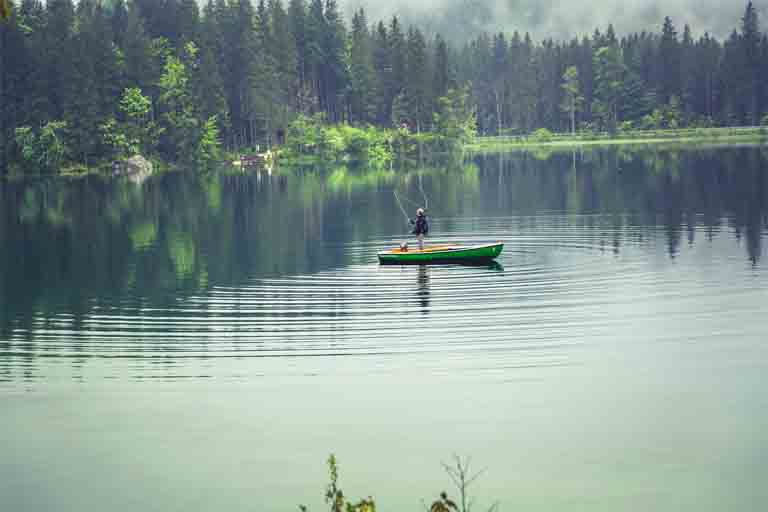 unabsorbed agricultural pollutants go into groudwater and bodies of water like this lake